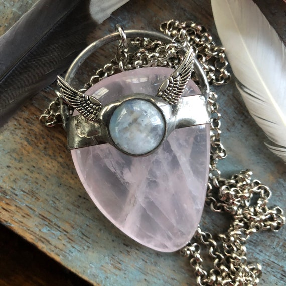 Rose quartz and moonstone crystal healing necklace