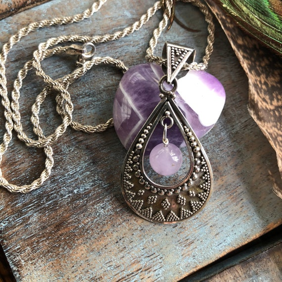 Beautiful sterling tribal and natural amethyst  pendant necklace
