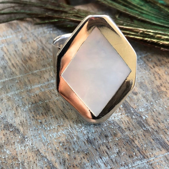 Sterling mother of pearl inlay ring size 6.5