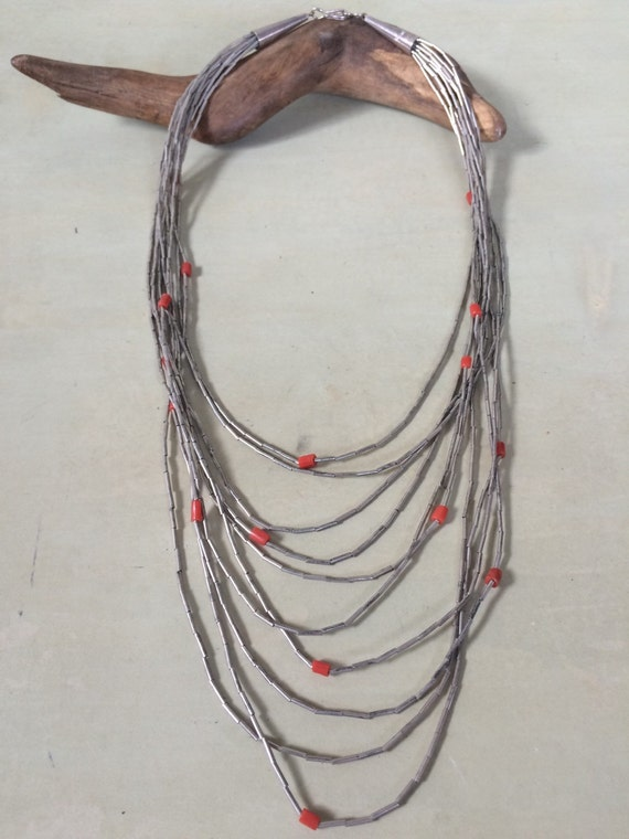 Vintage Native American liquid silver milti strand sterling and coral necklace