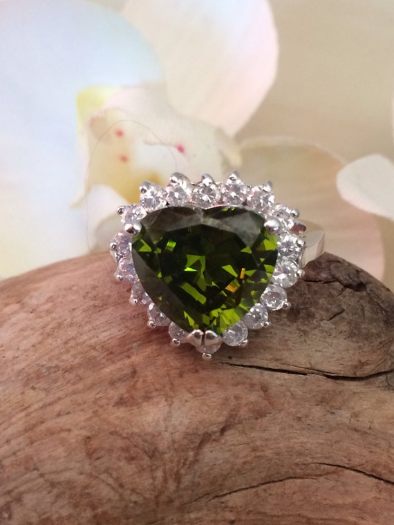 Sterling and Cz heart shaped ring size 6.5