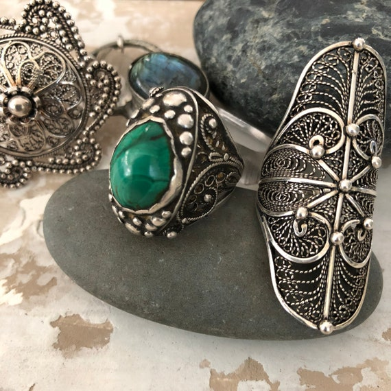 Amazing Sterling and Malachite tribal ring size 7.5