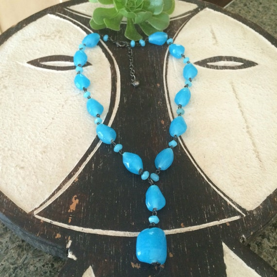 Handmade vintage blue glass beads amd oxidized chain choker necklace