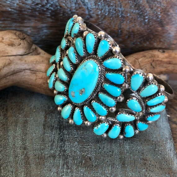 Vintage Navajo turquoise and sterling cluster cuff