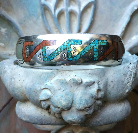 Navajo sterling mosaic inlay cuff