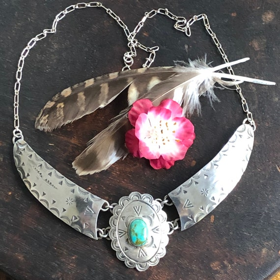 Vintage Navajo turquoise and sterling choker necklace