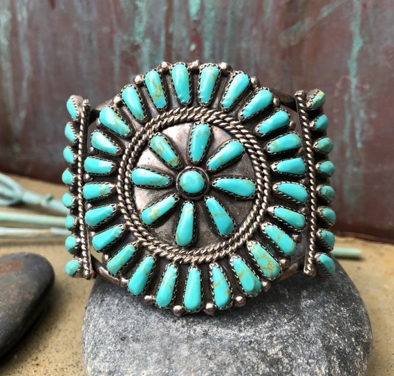 Vintage turquoise and sterling petit point cluster cuff