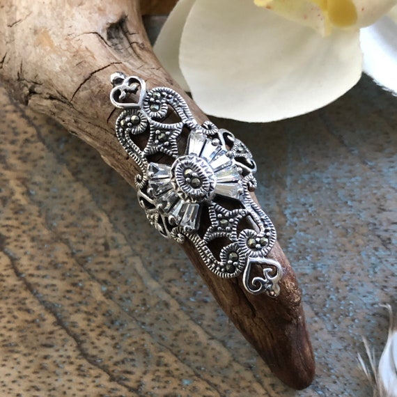 Art Deco inspired sterling Marcasite and cz size 7