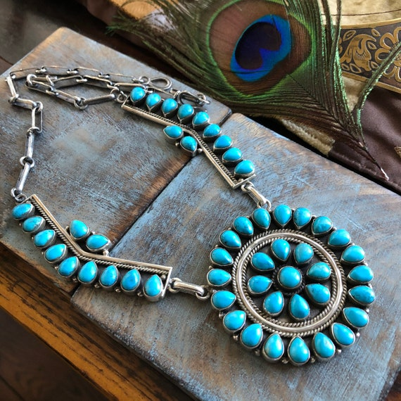 Turquoise Sterling petit point Cluster Necklace