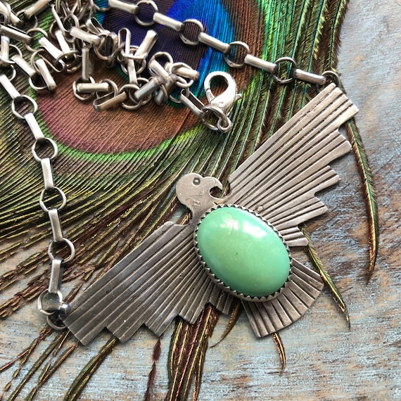 Sterling green turquoise thunderbird necklace unisex