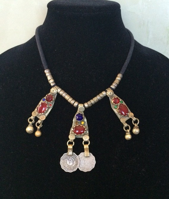 Afghan vintage coin and bell necklace