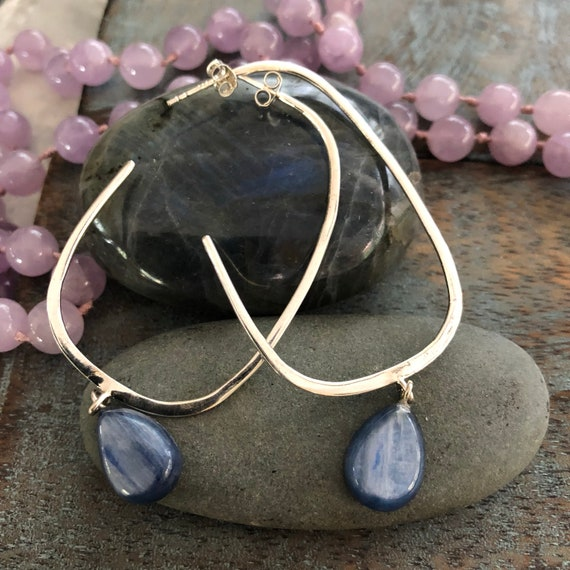 Sterling and kyanite modernist hoop earrings