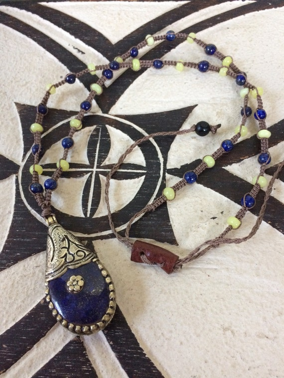 Handmade healing lapis, jade, onyx and brass macrame necklace