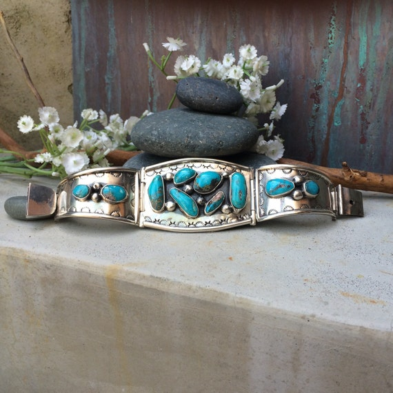 Spectacular rare vintage Navajo genuine turquoise and sterling panel cuff bracelet