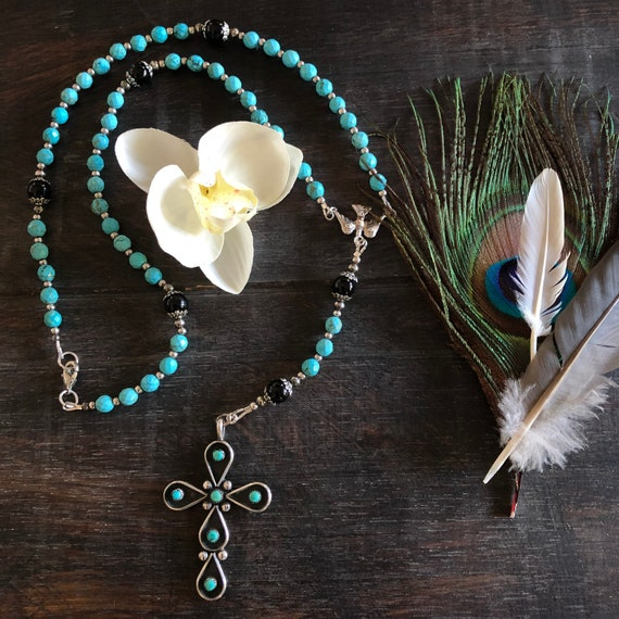 Sterling turquoise and onyx rosary necklace