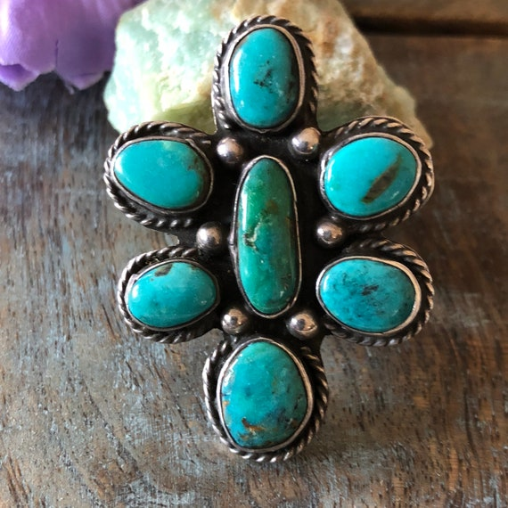 Exquisite vintage Navajo cluster ring high grade turquoise size 7.5