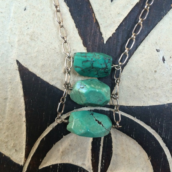 Turquoise nugget and sterling handmade necklace
