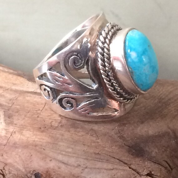 Sterling and Larimar vintage tribal ring  size 6