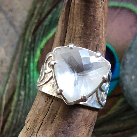 Cushion cut clear quartz sterling ring size 7