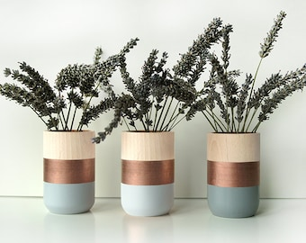 Natural Wooden Vases for flowers and more - Home Decor - Set of 3 - Copper