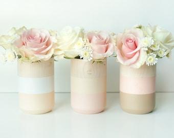 Natural Wooden Vases - Home Decor - light pink - Homeware - Set of 3 - Livingroom Accessories - Wedding gift