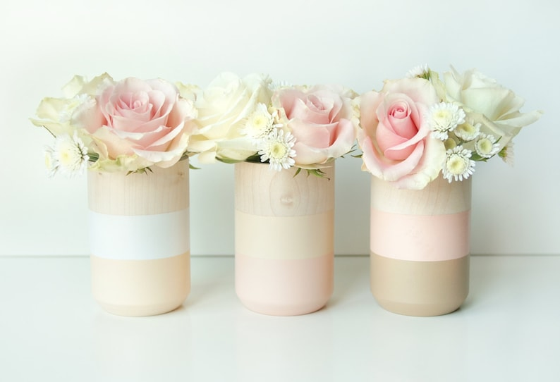 Roze Accessoires Woonkamer : Natuurlijke houten vazen home decor licht roze homeware etsy