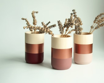 Natural Wooden Vases - Home Decor - Copper Paint - Homeware - Set of 3 - Livingroom Accessories - gift for Her