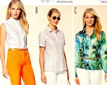 BURDA 6810 Misses' Blouse, Shirt, Top Pattern 3 Variations Sleeveless, Short or Long Sleeves Size 8-20 UNCUT Womens Sewing Patterns