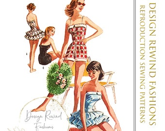 1950s Bombshell BATHING SUIT PATTERN 50s Vintage Ruffle Skirt Swimsuit Playsuit Romper 31 Bust Womens Sewing Patterns Reproduction M3654