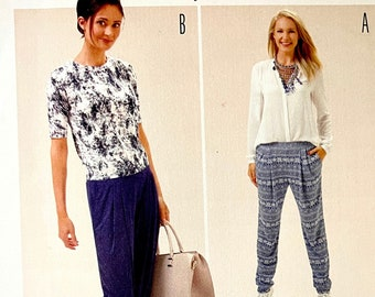Burda 6665 WOMENS PANTS Pattern Easy to Sew Casual Pull-On Pants Sweatpants Burda Young Size 8 to 18 UNCuT Womens Sewing Patterns