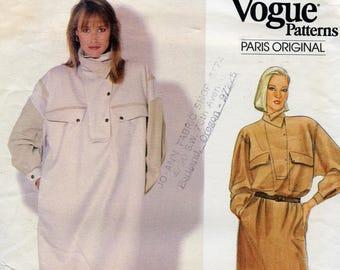 Vogue 1071 CLAUDE MONTANA DRESS Pattern Vogue Paris Original Very Loose Fitting Pull-Over Dress Womens Sewing Patterns UNCuT Size 14 16 18