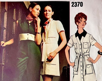 1970s Vintage VOGUE Coatdress & Jumpsuit PATTERN Chuck Howard Vogue 2370 Americana 34 Bust, Size 12 Vintage Womens Sewing Patterns UNCuT