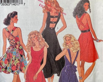 Vintage 1990s Open Back Dress Pattern STYLE 2281 Sleeveless Dress Size 6-16 Fit and Flare Dress UNCUT Womens Sewing Patterns