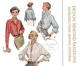 """1940s Vintage Sewing Pattern 40s Sexy and Classic Tailored Button Down Blouse Top Shirt Pattern 30"""" Bust Womens Sewing Patterns Reproduction"""