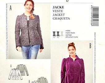 BURDA 7033 Blazer JACKET PATTERN Women's Peplum Jacket with Standing Collar or ruffles Size 18-28 UNCuT Plus Size Womens Sewing Patterns