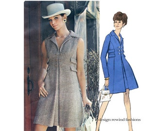 Vogue 2202 MOD COATDRESS PATTERN Double Breasted High Waist Dress Vogue Americana Chester Weinberg Bust 31.5 Size 8 Womens Sewing Patterns