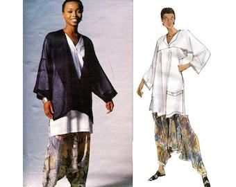 ISSEY MiYAKE JACKET Tunic Top Pants Pattern Vogue 1328 MC Drop Crotch Zouave Hammer Pants Womens Sewing Patterns Size 8 10 Bust 31.5 32.5