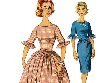 5a683e06d9f87 Simplicity 4254 DRESS PATTERN Fit   Flare or Wiggle Sheath Dress Patterns  Ruffled Cuffs Bust 31.5 Size 11 Junior Miss Sewing Patterns UNCuT