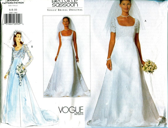 Bridal Gown /& Jacket Sewing Pattern Vogue 2085 Bellville Sassoon Wedding Dress