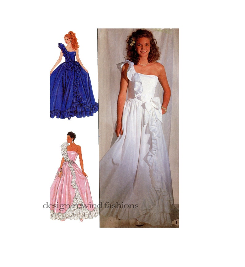 2f021a2972 1980s EVENING GOWN Pattern Ball Gown Pattern One Shoulder   Etsy