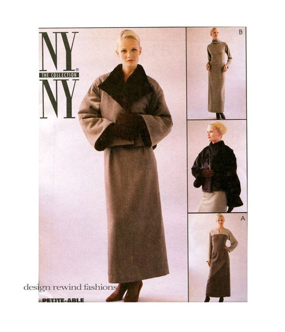 McCalls 2495 Petite-Lage Jacke & Schnittmuster Kutte Hals Kleid Muster Größe 12 14 16 Büste 34 36 38 ungeschnitten 1990er Jahre Damen-Schnittmuster