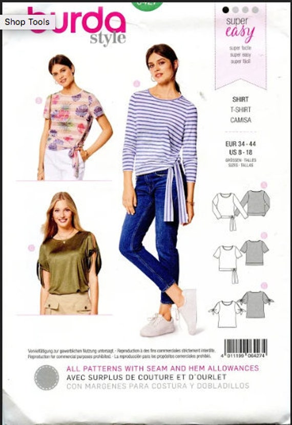 BURDA 6427 Shirt Blouse Top T-Shirt PATTERN Easy to Sew Top With Waist Ties  Burda Style Size 8 10 12 14 16 18 UNCuT Womens Sewing Patterns