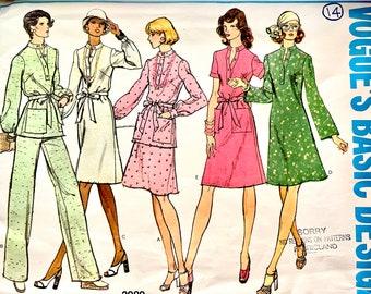 1970s Vintage Vogue Pattern Vogue 2989 DRESS TUNIC & PANTS Pattern Vogue Basic Design Vintage Misses Womens Sewing Patterns Bust 36 Size 14
