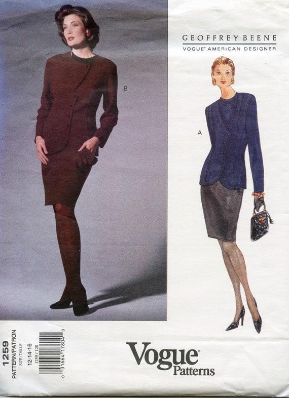 Vogue 1259 Jacket Skirt Suit Pattern Geoffrey Beene Vogue Etsy