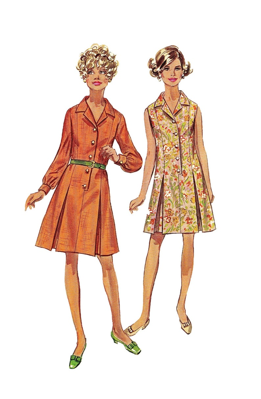 14fd6a21f Década de 1960 vestido patrón camisero Shirtwaist vestido
