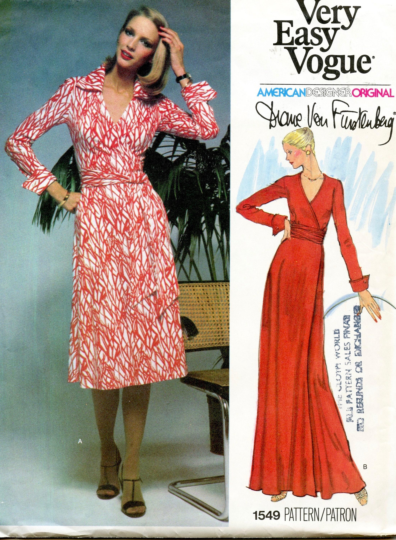 9er Jahre Vogue 9 Diane von Furstenberg WRAP Kleid Muster Maxi Kleid  Vogue American Designer Büste 9,9 Größe 9 UNCuT Frauen Schnittmuster