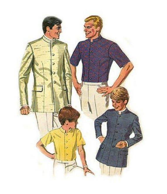 "Neck Size 15.5/"" Vintage 1960/'s 60/'s Sewing Pattern Vogue Men/'s Shirt"