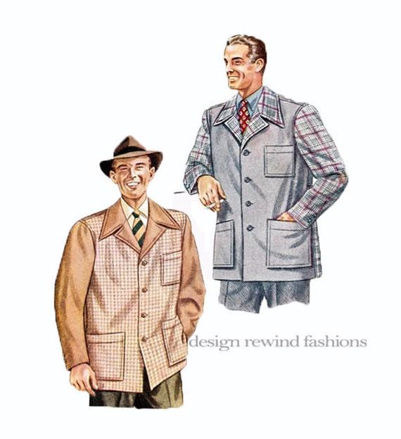 1940s MEN\'S SPORTS Jacket Pattern WWII Era Mens Single   Etsy