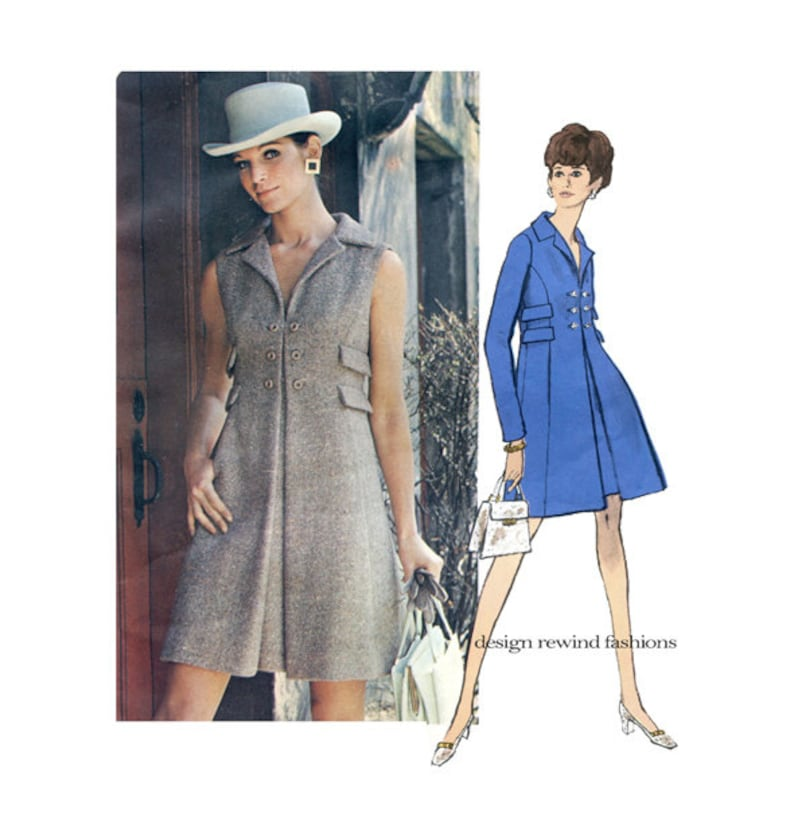 Vogue 2202 MOD COATDRESS PATTERN Double Breasted High Waist Dress Vogue Americana Chester Weinberg Bust 31.5 Size 8 Womens Sewing Patterns