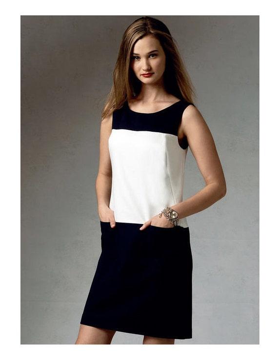 VOGUE 1382 DRESS PATTERN Sleeveless Colorblock Dress Anne Klein American  Designer Plus Size Womens Sewing Patterns Size 16 18 20 22 24